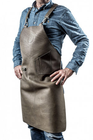 Premium Leather Apron Grigio-Verde
