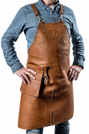 Premium Leather Apron Cognac Split