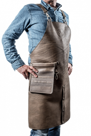 Premium Leather Apron Grigio-Verde Split