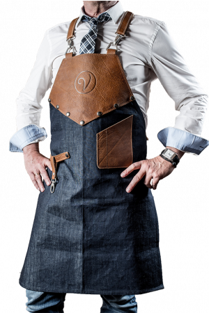 Premium Leather Apron Denim Cognac
